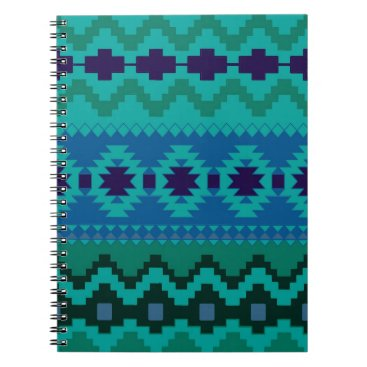 Aztec Themed Blue and Green Aztec Spiral Photo Notebook