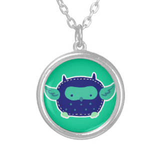 Blue and Green Baby Owl Round Pendant Necklace