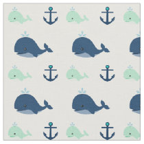 Blue and Green Baby Whales and Anchors Fabric