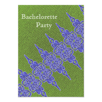 Blue and green bachelorete  party invitation
