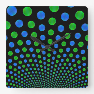 Blue and Green Balls on a Black Wall Clock