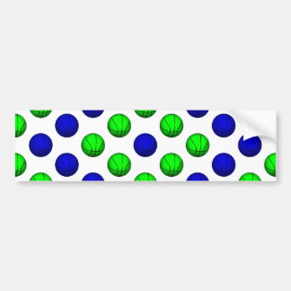 Blue and Green Basketball Pattern. Car Bumper Sticker