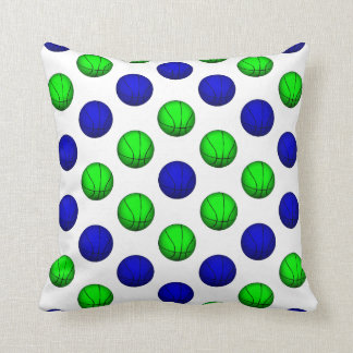 Blue and Green Basketball Pattern. Pillow