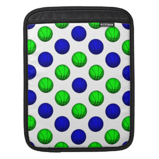 Blue and Green Basketball Pattern. Sleeve For iPads