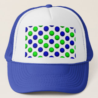 Blue and Green Basketball Pattern. Trucker Hat