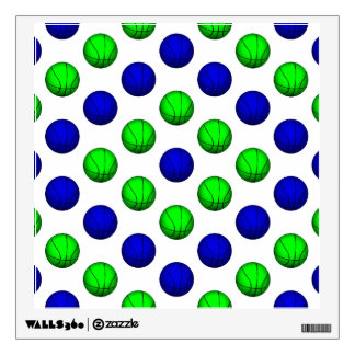 Blue and Green Basketball Pattern Wall Decal