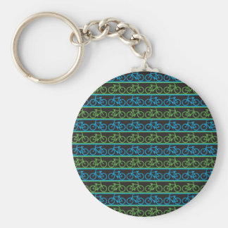 Blue and green Bike Bicycle pattern Basic Round Button Keychain