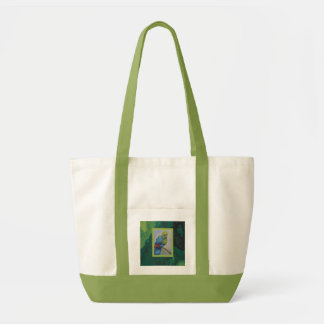 blue and green bird tote bags