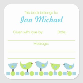 Blue and Green Birds Library Book Plate bookplates Square Stickers