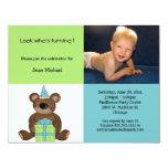 "Blue And Green Birthday Teddy Bear Invitation 4.25"" X 5.5"" Invitation Card"