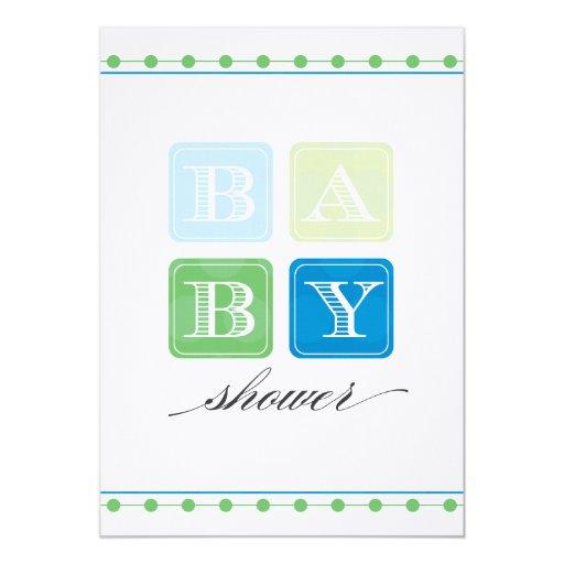 blue and green blocks baby shower invitation zazzle