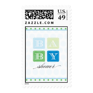 Blue and Green Blocks Baby Shower Postage Stamp