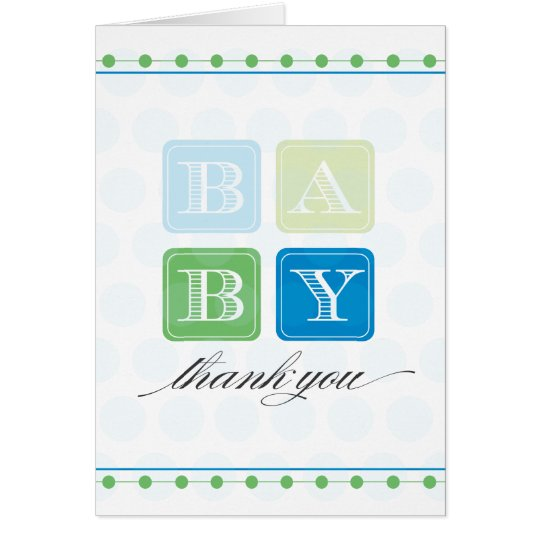 Blue and Green Blocks Baby Thank You Card