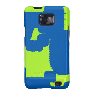 blue and green blotch abstract art samsung galaxy SII case