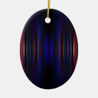 Blue and green blurred stripes pattern ceramic ornament