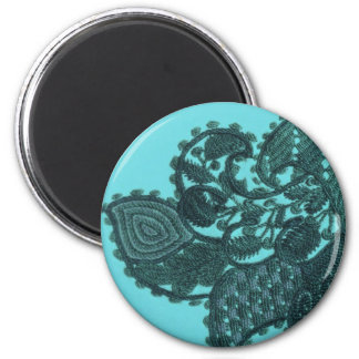 Blue And Green Bohemian Paisley 2 Inch Round Magnet