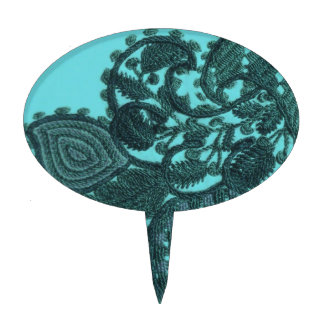 Blue And Green Bohemian Paisley Cake Topper
