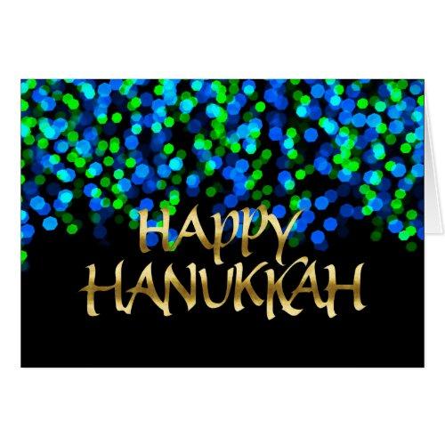 Blue and Green Bokeh Lights Gold Happy Hanukkah Greeting Card