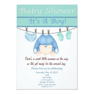 "Blue And Green Boy Baby Shower Invitation 5"" X 7"" Invitation Card"