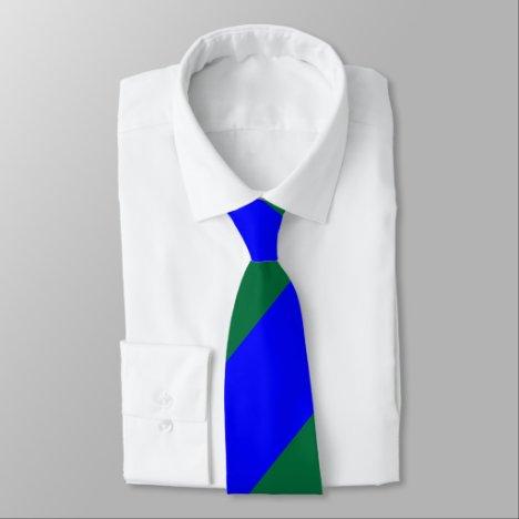 Blue and Green Broad Regimental Stripe Tie