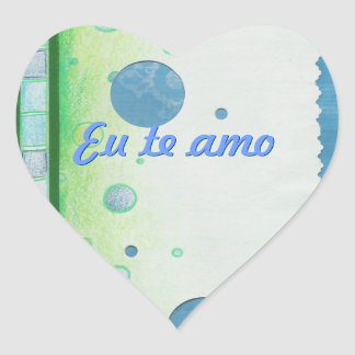 Blue and Green Bubble Heart Stickers