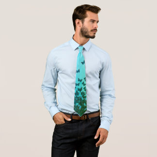 Blue and green butterflies theme, insects pattern tie
