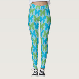 Blue and green butterfly pattern leggings