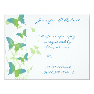 Blue and Green Butterfly Vine Response Card