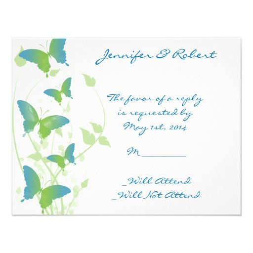 Blue and Green Butterfly Vine Response Card Invitation