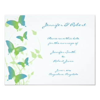Blue and Green Butterfly Vine Save the Date Card