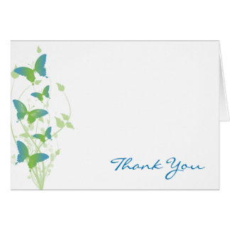 Blue and Green Butterfly Vine Thank You Card