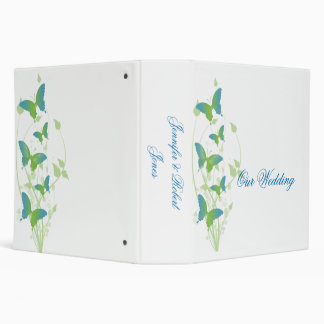 Blue and Green Butterfly Vine Wedding Binder