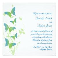 Blue and Green Butterfly Vine Wedding Card (<em>$2.31</em>)