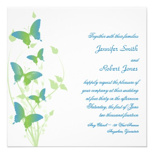 Blue and Green Butterfly Vine Wedding Announcements