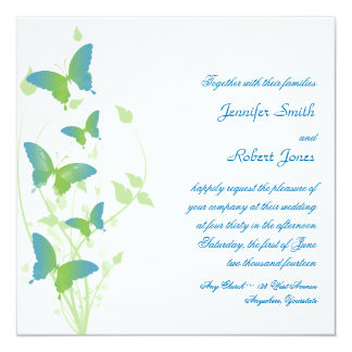 Blue and Green Butterfly Vine Wedding 5.25x5.25 Square Paper Invitation Card