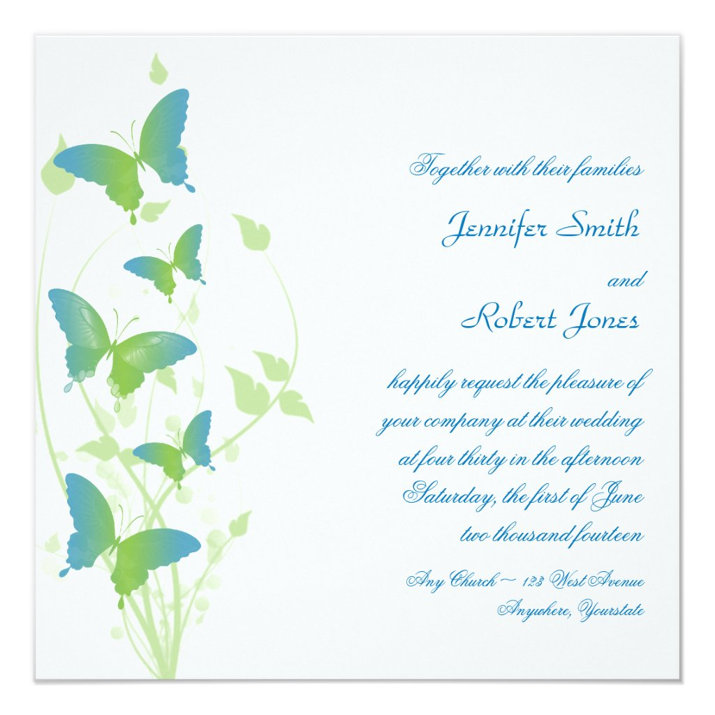 Blue and Green Butterfly Vine Wedding Invitation