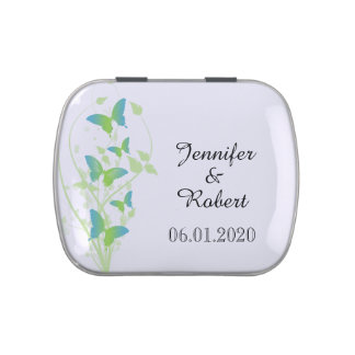 Blue and Green Butterfly Vine Wedding Jelly Belly Tin
