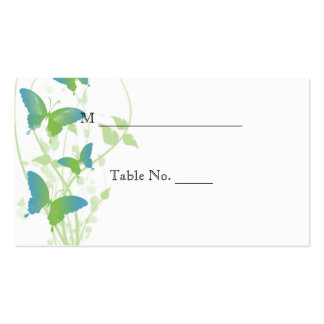 Blue and Green Butterfly Vine Wedding Place Cards Business Cards