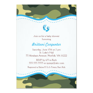 Blue And Green Camo Baby Shower Invites With Feet