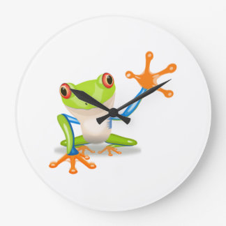 Blue and Green Cartoon Frog Large Clock