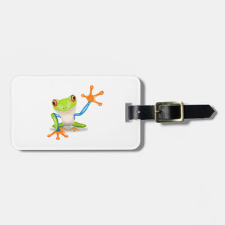 Blue and Green Cartoon Frog Luggage Tag