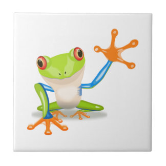 Blue and Green Cartoon Frog Tiles