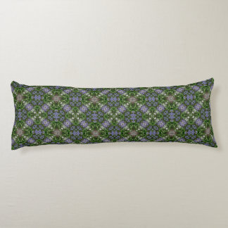 Blue and green check flower pattern body pillow