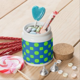 Blue and Green Checkered Candy Jar