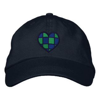 Blue and Green Checkered Heart Embroidered Hat