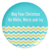 Blue and green chevron Christmas holiday plate Plate