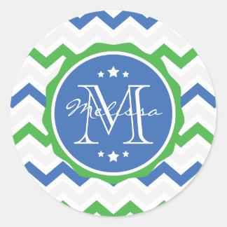 Blue and Green Chevron Custom Monogram Classic Round Sticker