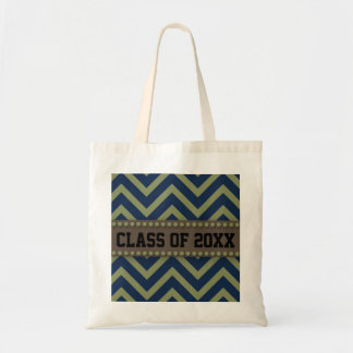 Blue and Green Chevron Graduation Year Tote Bag