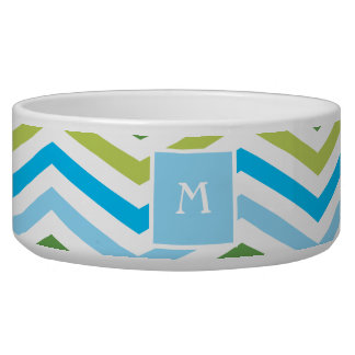 Blue and Green Chevron  | Monogram Dog Dish