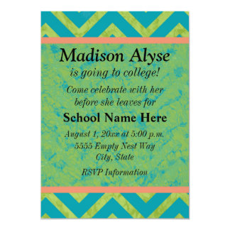 Blue and Green Chevron Off To College Party Invite